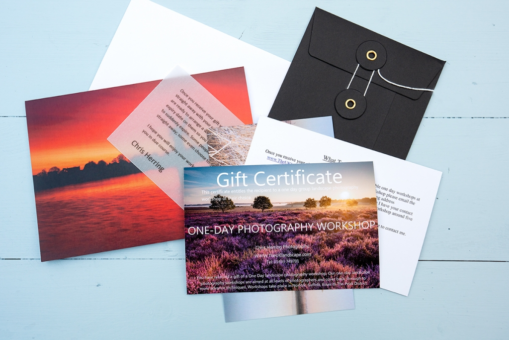 Photography workshop gift vouchers