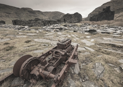 The ruins of Rhosydd slate mine in North Wales