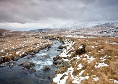 Winter waterfall the Snowdonia National park