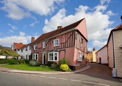 Leaning building at ancient Lavenham in Suffolk