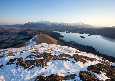 A winter image shot from Cat Bells looking towards Skiddaw and Keswick