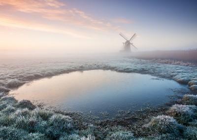 Herringfleet Mill on a frosty morning on the Norfolk & Suffolk Broads