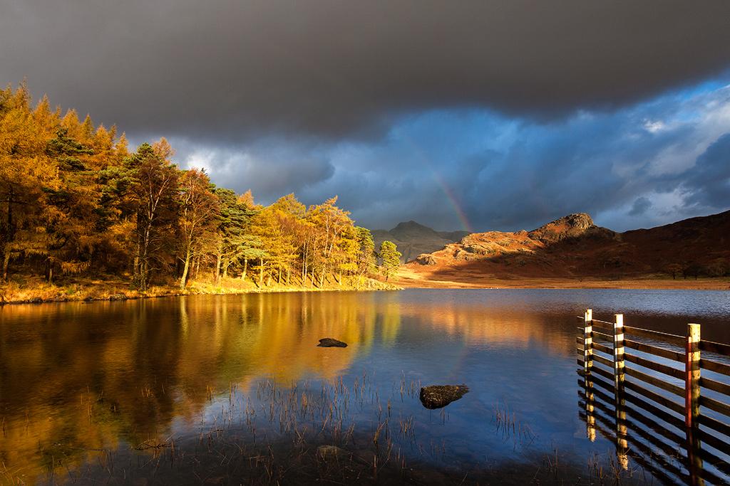 Rainbow and autumn colours in Blea Tarn