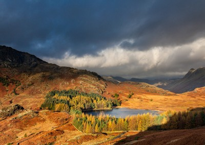 Lokking towards Blea Tarn on a stormy morning