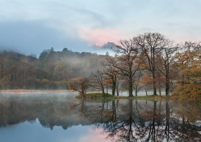 Dawn on a misty morning at Rydal Water