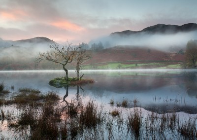 A misty morning at Rydal Water in the Lake District