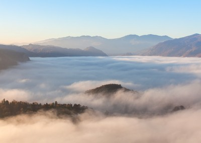 Overlooking Keswick in the Lake District, on a misty morning