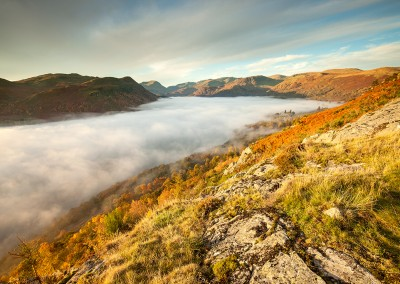 Mist covering Ullswater at dawn, shot from Gowbarrow Fell