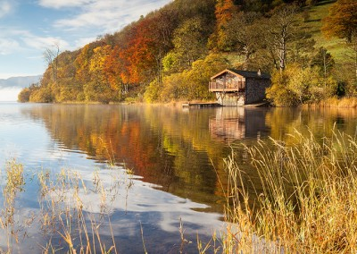 The Duke Of Portalnd boathouse on a November morning at Ullswater in the Lake District