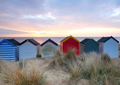 Southwold beach huts at sunrise on the Suffolk Coast