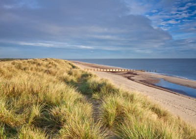 Horsey Dunes and beach at first light on the Norfolk Coast