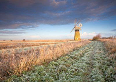 St Benet's Level Drainage mill on a frosty winters morning on the Norfolk Broads