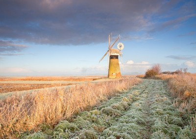 St Benet's Drainage mill on a frosty winters morning on the Norfolk Broads