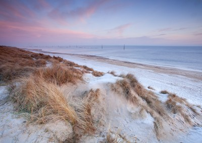 Sea Palling beach on a cold frosty morning on the Norfolk Coast