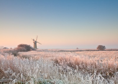 St Benet's Drainage Mill at first light following a winter hoarfrost on the Norfolk Broads