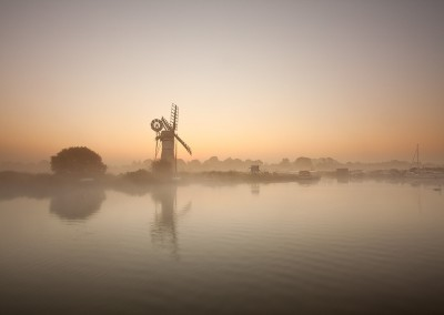 Thurne Drainage Mill on a misty morning on the Norfolk Broads