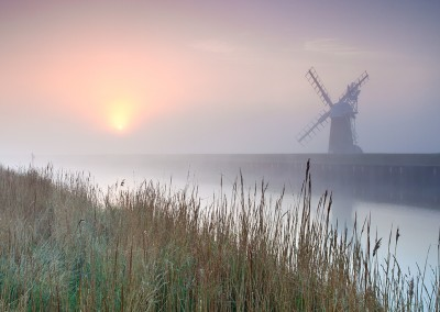 Ashtree Farm mill at sunrise on the Norfolk Broads