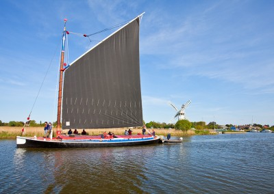 The Wherry Albion sailing on the River Thurne, Norfolk Broads
