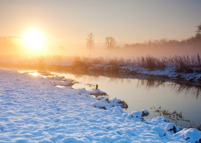 Marston Marshes just outside Norwich. Captured here at sunrise  following overnight snow.