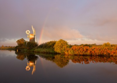 Stormy morning light over Turf Fen windpump on the Norfolk Broads