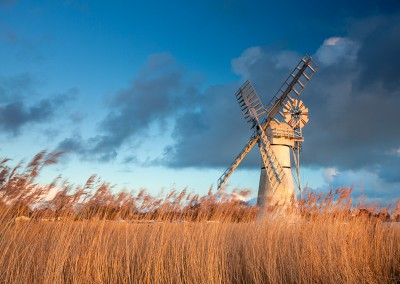 Thurne Drainage Mill at last light on the Norfolk Broads