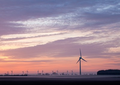 Windfarm at Winterton on a misty morning