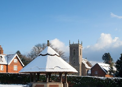 Woodbastwick village in the snow