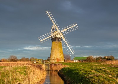 St Benet's Level Drainage Mill on a stormy afternoon on the Norfolk Broads