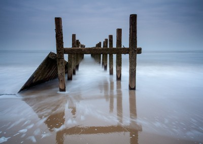 Happisburgh beach during a long exposure on the Norfolk Coast