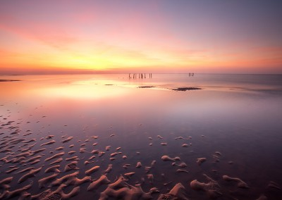 Looking towards the mussel beds at sunset on the beach at Old hunstanton