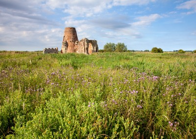 St Benet's Abbey gatehouse and derelict mill captured in the summer