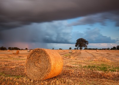 Storm over a Straw bale Field in the Norfolk Countryside