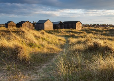 Old fishing huts on the dunes at Winterton on the Norfolk Coast