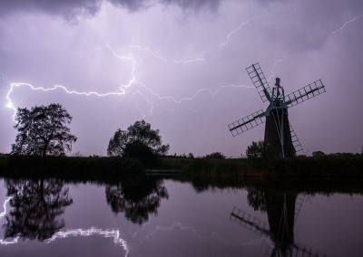 Thunderstorm over Turf Fen Drainage Mill on the Norfolk Broads