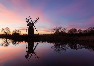 Turf Fen Mill captured at sunrise on the River Ant, How Hill