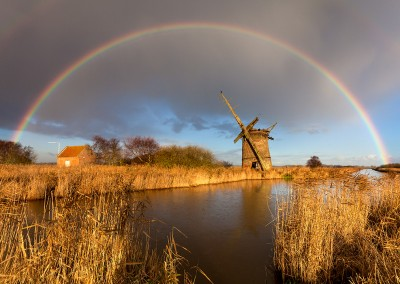 Brograve Drainage Mill and rainbow on the Norfolk Broads