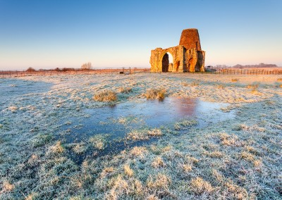 St Benet's Abbey on a frosty morning on the Norfolk Broads.