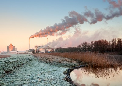 antley Sugar Factory on a frosty morning on the Norfolk Broads