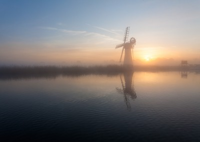 Thurne Mill at dawn on the Norfolk Broads