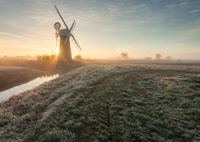 St Benet's Level mill on a frosty morning on the Norfolk Broads