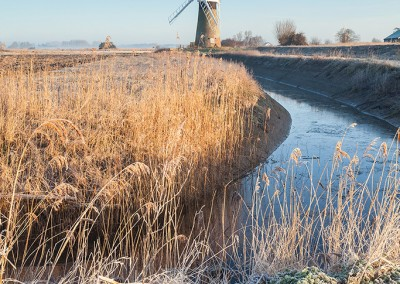 A frosty St Benet's Level Mill on the Norfolk Broads