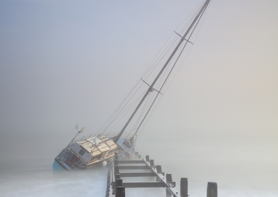 Stricken Yacht in the fog at Cart Gap on the Norfolk Coast