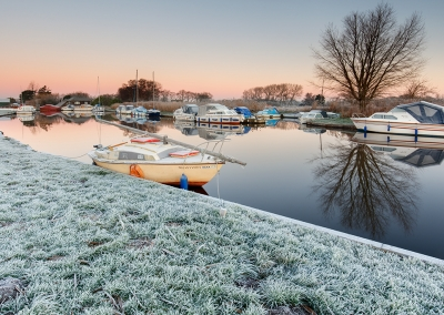 The area around Ludham Bridge on a frosty morning on the Norfolk Broads