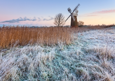 Hardley Mill on a frosty morning on the Norfolk Broads