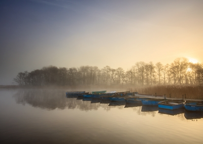 Filby & Ormesby Little Broad at sunrise on the Norfolk Broads