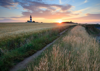 Happisburgh Lighthouse at sunset on the Norfolk Coast