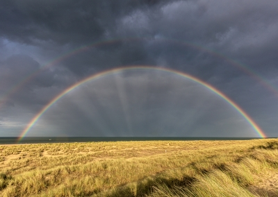 Double rainbow over the dunes at Winterton on the Norfolk Coast