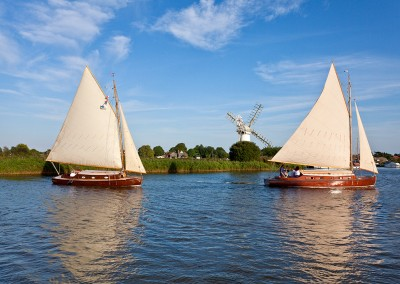 The Historic traditional Hunters Sailing boats on the River Thurne, Norfolk Broads