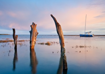 Thornham Harbour at high tide on the North Norfolk Coast