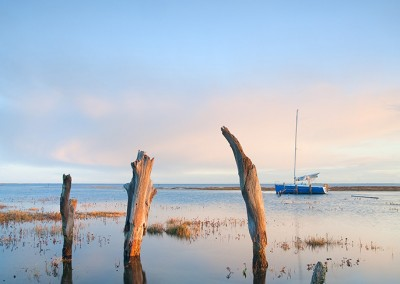 Thornham Harbour at high tide on the Norfolk Coast